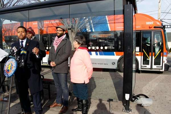 Legis. Carrie Solages, left, with NICE bus riders