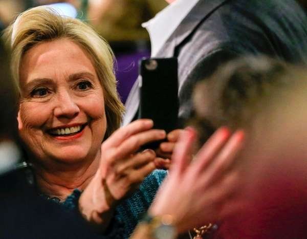 Democratic presidential candidate Hillary Clinton takes a