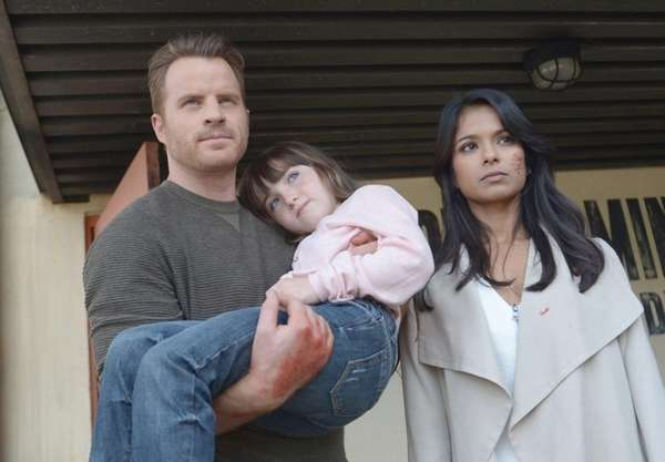 Rob Kazinsky, left, guest star Kennedi Clements and