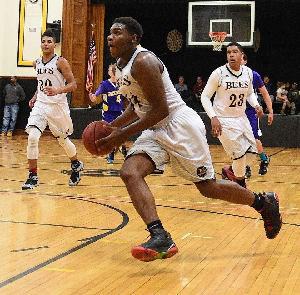 Bridgehampton's Josh Lamison drives to the basket against