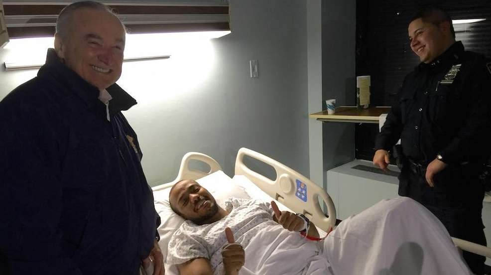 NYPD Commissioner William Bratton visits Officer Sherrod Stuart