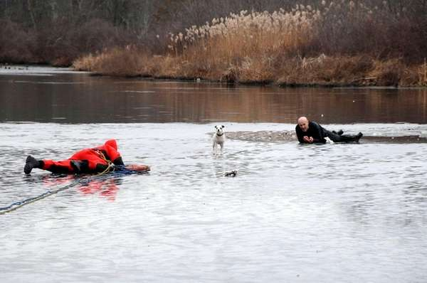 A man is rescued by Suffolk County emergency