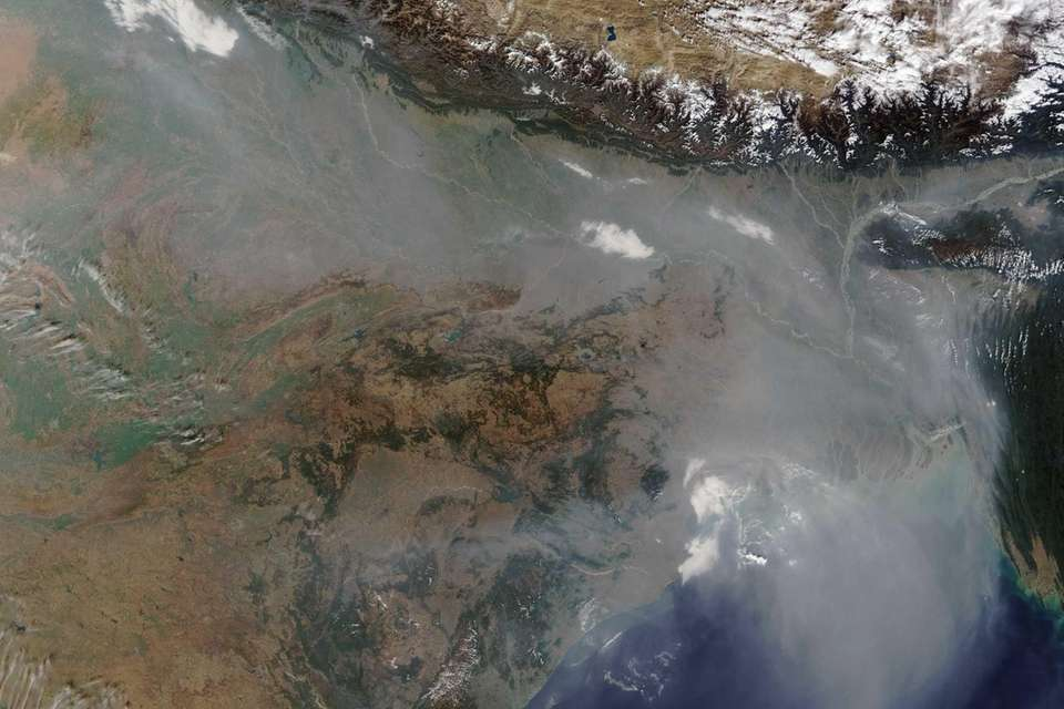 A thick haze hovers over the Indo-Gangetic Plain,