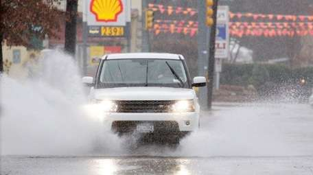 A vehicle creates its own turbulence Sunday, Jan.
