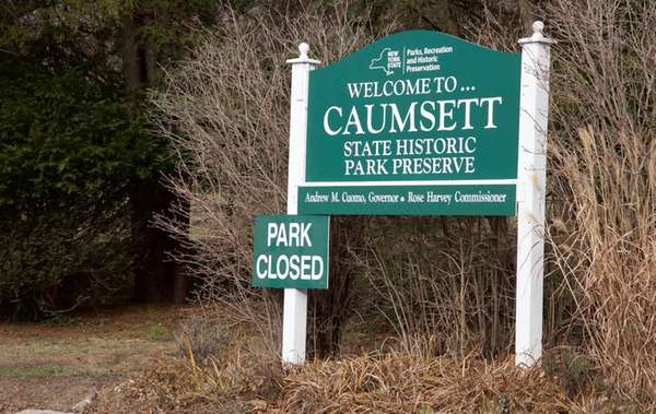 A sign indicated that Caumsett State Historic Park
