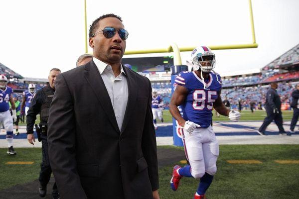Buffalo Bills general manager Doug Whaley walks
