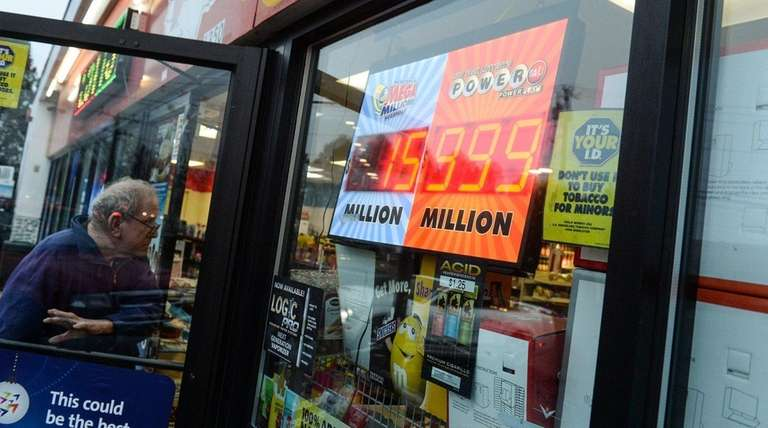 A Powerball sign reads $999 million dollars