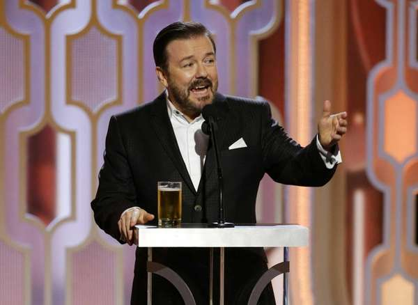 Host Ricky Gervais gives his opening monologue during