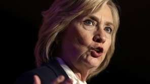 Democratic presidential candidate Hillary Clinton addresses an audience