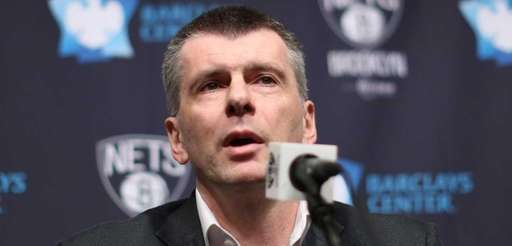 Nets owner Mikhail Prokhorov speaks to the media