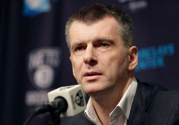 Brooklyn Nets owner Mikhail Prokhorov speaks during
