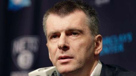 Brooklyn Nets owner Mikhail Prokhorov speaks during