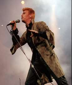 Entertainer David Bowie performs during a concert