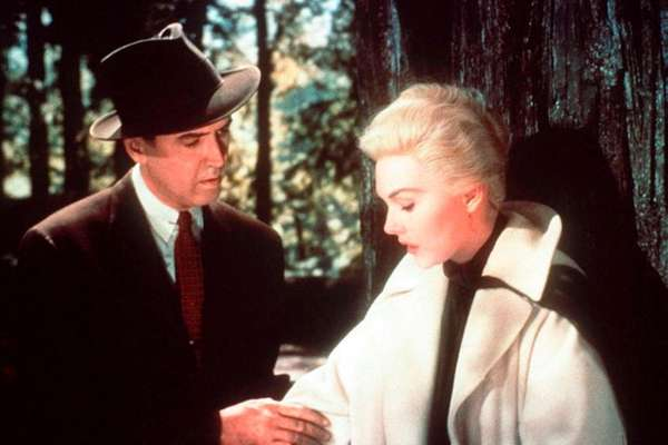 James Stewart and Kim Novak in a scene