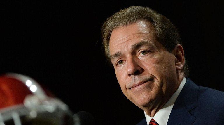 Alabama head coach Nick Saban addresses the
