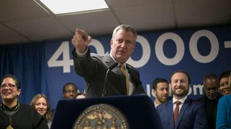 New York Mayor Bill de Blasio fielded questions
