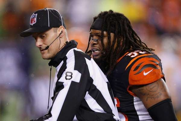 Vontaze Burfict of the Cincinnati Bengals reacts