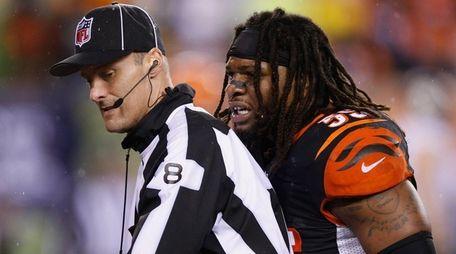 Vontaze Burfict of the Cincinnati Bengals reacts