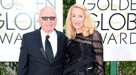Rupert Murdoch and Jerry Hall arrive at the