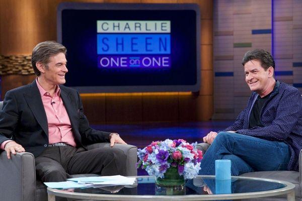 Dr. Mehmet Oz talks with actor Charlie Sheen