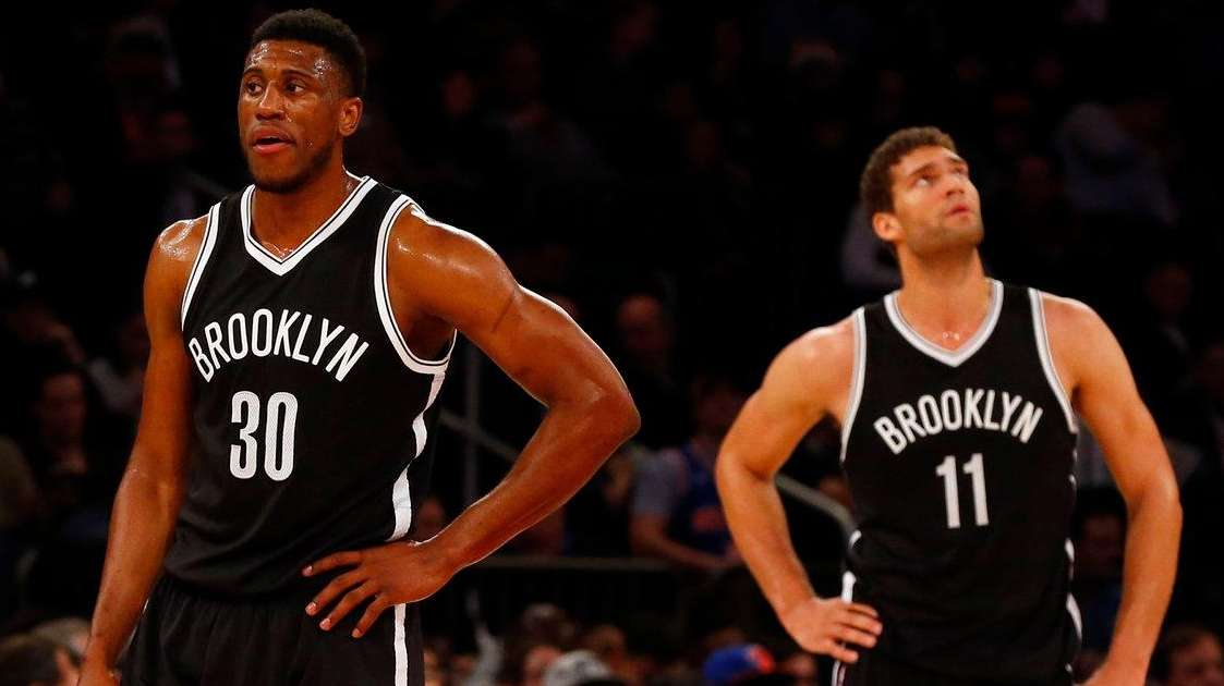 Thaddeus Young #30 and Brook Lopez #11