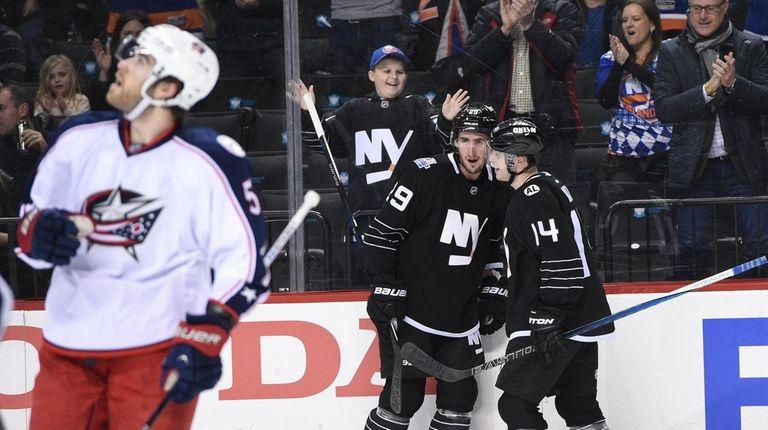 New York Islanders left wing Brock Nelson celebrates
