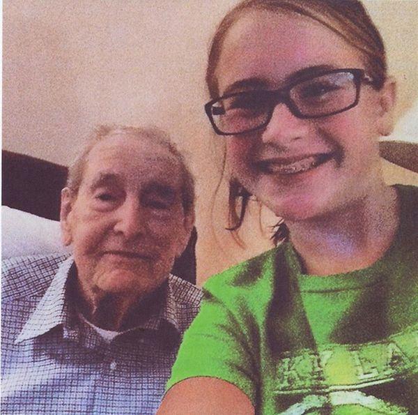 Olivia Konfino with her grandfather, Thomas J. McGee.