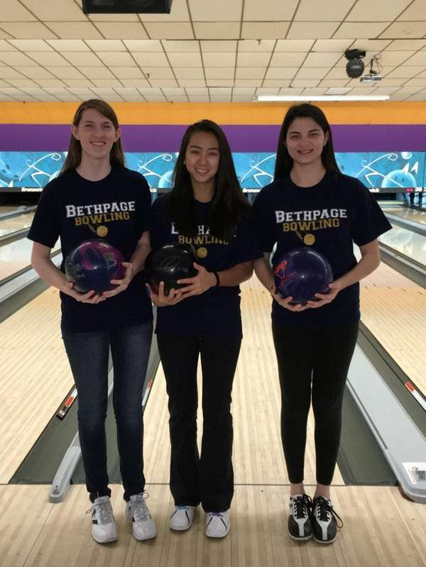 Bethpage girls bowling team seniors. Left to right: