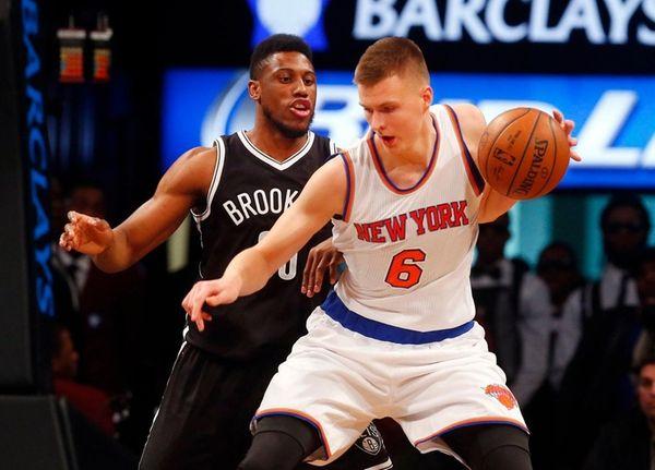 Kristaps Porzingis of the New York Knicks controls
