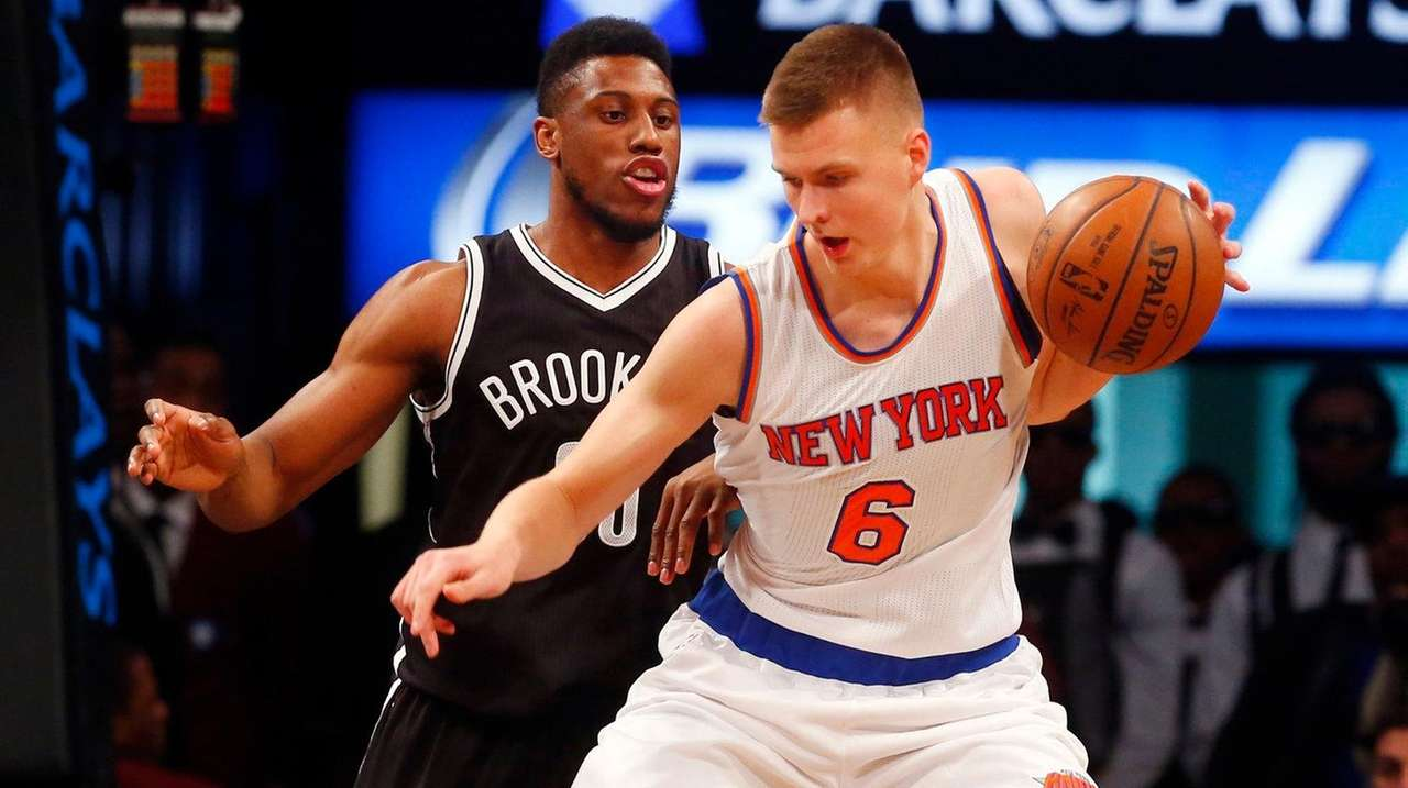 Kristaps Porzingis of the New York Knicks controls