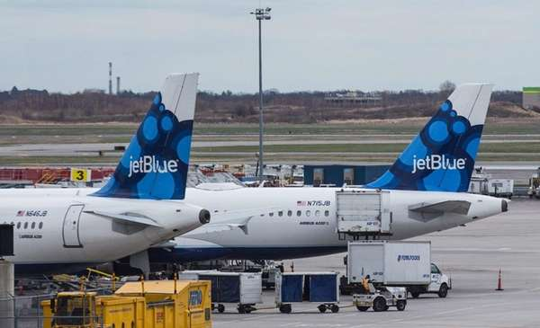 JetBlue, seen here at Kennedy Airport, experienced a
