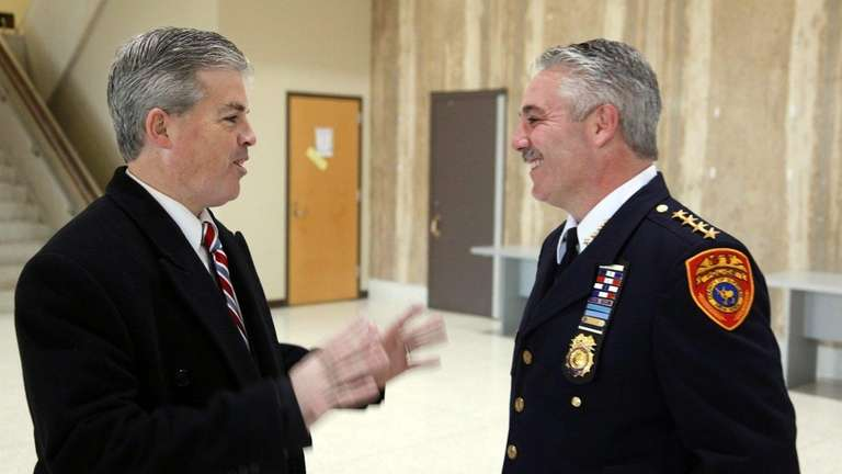 Suffolk County Executive Steve Bellone is greeted