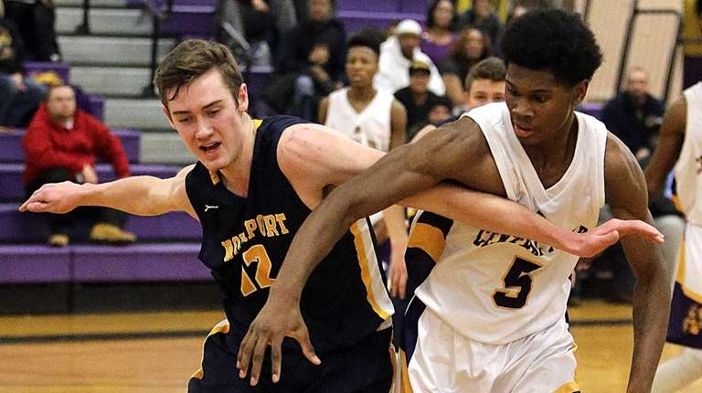 Northport's Lukas Jarrett (12) and Central Islip's Javal