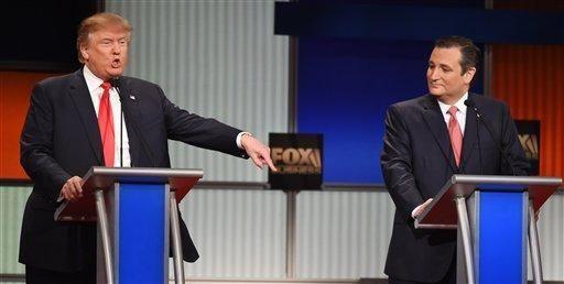 Donald Trump speaks as Sen. Ted Cruz (R-Texas),