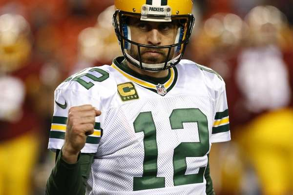 Green Bay Packers quarterback Aaron Rodgers #12 celebrates