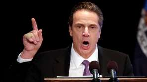 New York Gov. Andrew Cuomo delivers his