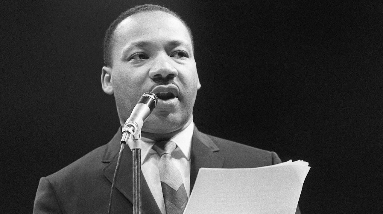 Civil rights leader Martin Luther King Jr. speaks