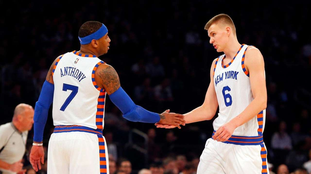 Carmelo Anthony and Kristaps Porzingis of the New