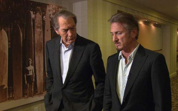 Charlie Rose, left, and actor Sean Penn are