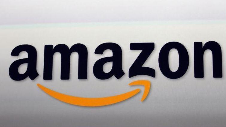The Amazon logo in Santa Monica, Calif. on