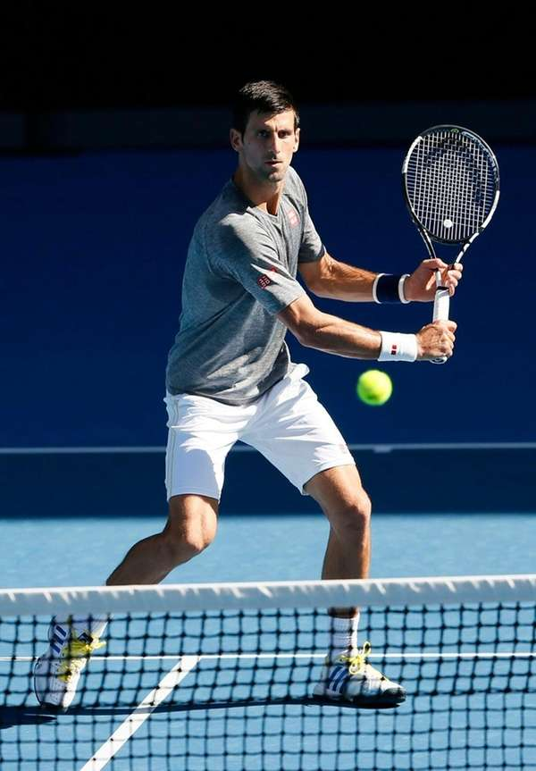 Novak Djokovic prepares to hit the ball during