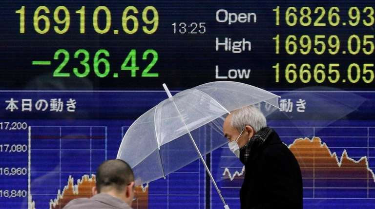 The Nikkei stock average was down Monday afternoon,