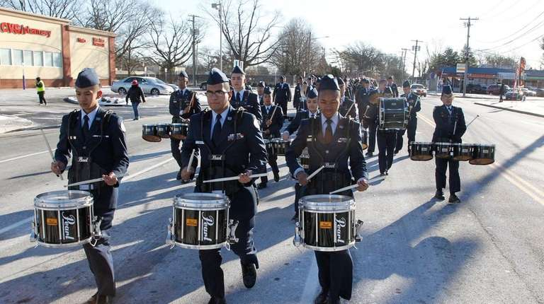 Aviation High School ROTC cadets march Monday, Jan.