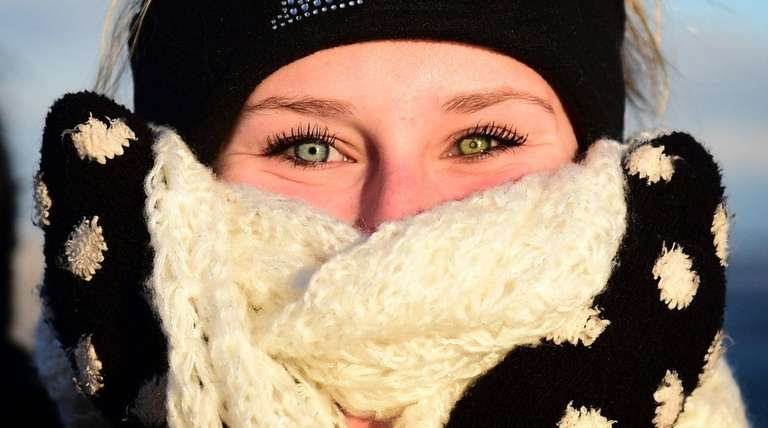 Kylie Goess, 14, of East Islip braves the