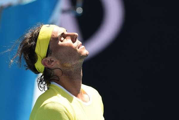 Spain's Rafael Nadal reacts during his men's