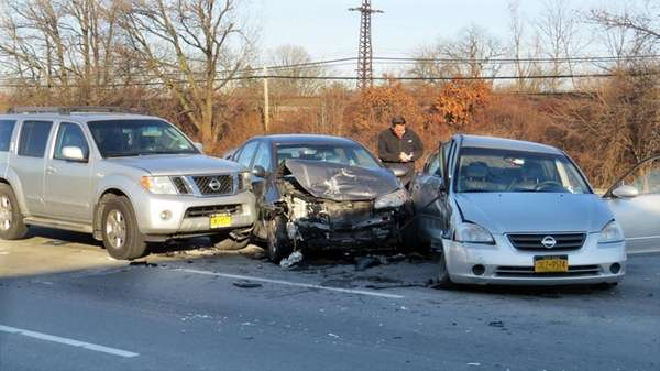 The three cars in the accident are seen