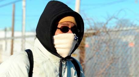 Samuel Williams of Patchogue battles the subfreezing temperatures