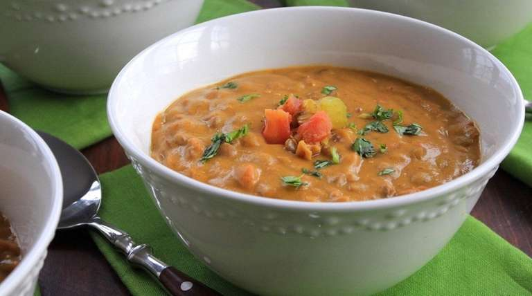 Lentils are cooked with curry and light coconut