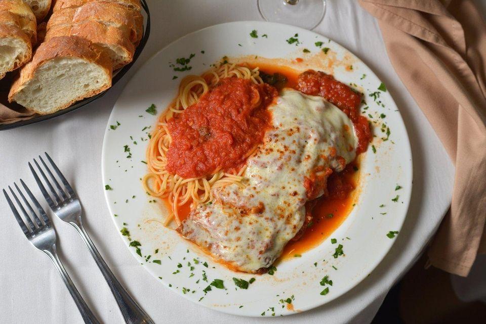 Eggplant Parmesan with spaghetti at Villa Olivetti in