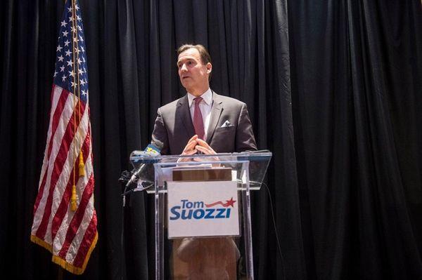 Former Nassau County Executive Thomas Suozzi speaks at